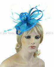 Pill Box Race Wedding Church Feather Fascinator Hatinator Headband Aqua Sky Blue