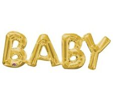 "Gold Baby Letters 26"" Foil Supershape Balloon - Baby Shower Decoration"