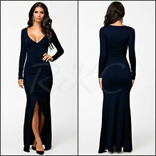 Women's Sexy Long Sleeve Dark Navy Blue Maxi Split Evening Party Dinner Dress