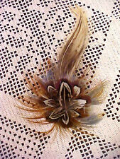 Womens Feather Hair Clip Browns Beiges White Hand Crafted Local Artist 5 1/4 x 3