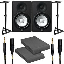 Yamaha HS7 Black Studio Monitor Pair w/ Stands Isolation Pads & Mogami Cables