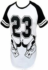 Victorious Mens Extended Length T-Shirt Long Tee Scoop Bottom #23 Bulls Swag