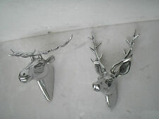 Metal Wall Mount Stag & Moose Head Deer Figurine Sculpture 10 & 11 inches f.