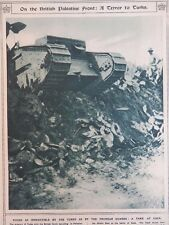 1917 BRITISH TANK AT GAZA; SEARCHING GERMAN PRISONERS AFTER ARLEUX WWI WW1