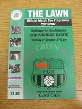 02/10/2001 Forest Green Rovers v Stalybridge Celtic  (Excellent Condition)