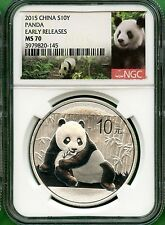 China  2015 PANDA SILVER   31.103 GRAM NGC MS 70 EARLY RELEASES