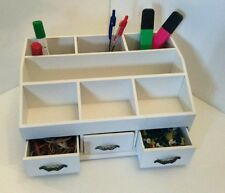 Make Up Drawers Wooden Cosmetic Pens Desk Tidy Organiser Holder White NEW IN BOX