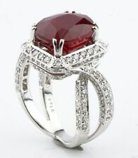 18K White Gold  Ruby & Diamond Cocktail Ring With AIG Certificate
