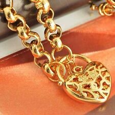 "22"" Heart Pendant long Necklace Chain Yellow Gold Filled Mens big necklace"