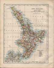 1914 MAP ~ NEW ZEALAND NORTH ISLAND WITH COUNTIES NAPIER COOK STRAIT WELLINGTON