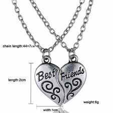 "Newly 2PS Heart Double ""BEST FRIEND"" Friendship Silver Necklace Pendant Chains"