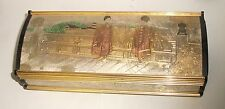 RARE LARGE JAPANESE GEISHA GIRLS TEMPLE LADY MATE MIXED METAL JEWELRY MUSIC BOX