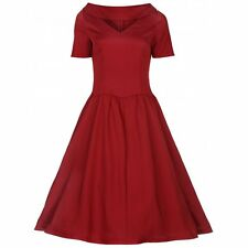 NEW VINTAGE 50'S STYLE RED BETSY ROCKABILLY SWING PARTY DRESS SIZE 18