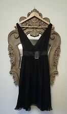 NWT £240 Stunning GANT 100% Silk Black Dress deep V-neck (Prom, Formal, Party)