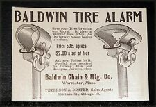 1905 OLD MAGAZINE PRINT AD, BALDWIN TIRE ALARM, SAVE YOUR TIRES USING OUR ALARM!