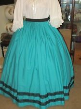 CIVIL WAR DRESS~VICTORIAN STYLE 100% COTTON SOLID TEAL SKIRT WITH DS WAIST