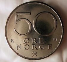1986 NORWAY 50 ORE - UNC - From Norwegian Mint Roll - BARGAIN BIN #AAA