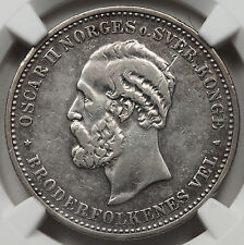 Norway 1902 2 Kroner Silver Coin NGC XF+ Extremely Fine KM #359 Scarce!