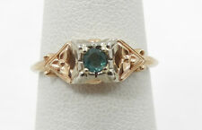 Nice 14K Yellow & White Gold Antique Emerald Ring Size 5.5 A307