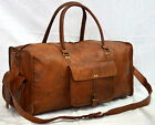 Men genuine Leather large vintage duffle travel gym weekend overnight bag tote