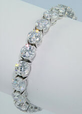 42 ct  Bling Bling Bracelet Top Russian Quality CZ Solid Silver  Silver 7 inch