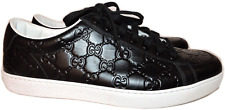 Gucci Men's GUCCISSIMA Black LEATHER SNEAKER Low Profile Shoes 7 G-8 US New