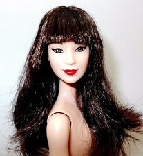 2016 Barbie NUDE Fashionista Asian Ruby Red Floral Doll Brunette Bangs Red Lips