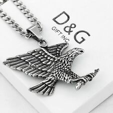 """DG Mens 24"""" Stainless Steel-Silver.EAGLE,Pendant,Cuban Curb Chain Necklace~Box"""