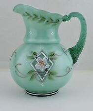 FENTON DIAMOND JUBILEE PITCHER GREEN CASE GLASS HAND PAINTED FLOWERS NEW!