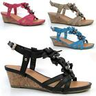Ladies Wedge Sandals Womens Heels New Fancy Summer Dress Party Beach Shoes Size