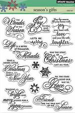 Season's Gifts Text, Clear Unmounted Rubber Stamp Set PENNY BLACK - NEW, 30-316