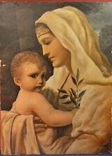 Painting Picture DIPINTO OLIO  ROMANO DELLA CROCE , MADONNA 1930  reliquia relic