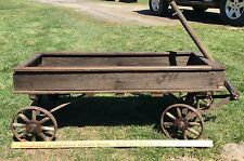 Antique Primitive Childs Wood Wagon Metal Wheels Wood Spokes Country Rustic
