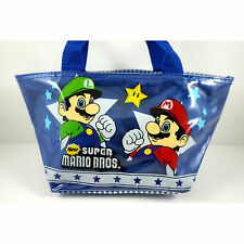 NEWEST Super Mario Bros. Luigi Kid Blue Carry Hand Tote Bag Handbag + BADGE