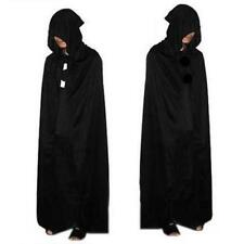 Black Halloween Costume Theater Prop Death Hoody Cloak Devil Long Tippet Cape