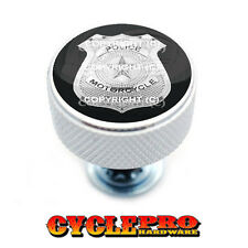 Chrome Knurled Billet Seat Bolt 96-UP Harley Touring  POLICE BADGE - 020