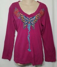JWLA Johnny Was Pink Embroidered Butterfly Shirt Women's XL