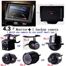 "360 Car Rear View Reverse Parking Kit Camera +4.3"" Foldable Display Monitor LED"