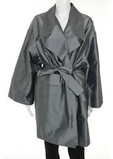 AUTH FENDI Silver Gray Long Sleeve Tie Waist Long Trench Coat Sz IT 40 RB761