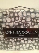 CYNTHIA  ROWLEY FULL QUEEN QUILT  ~ BLACK GRAY WHITE SPOTS DOTS STONE PATTERN