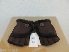 UGG CHOCOLATE MINI BAILEY BUTTON FINGERLESS SUEDE SHEARLING GLOVES ~LARGE ~ NWT