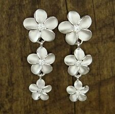 Hawaiian 925 Sterling Silver Flowers Dangle Post Link Stud Earrings # SE19801