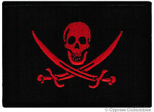 PIRATE FLAG iron-on PATCH JOLLY ROGER Skull BIKER embroidered CALICO JACK RED