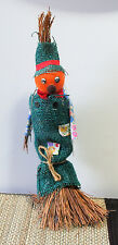 Blue Burlap Straw Scarecrow Vintage Japan Tabletop Halloween/Fall Decoration