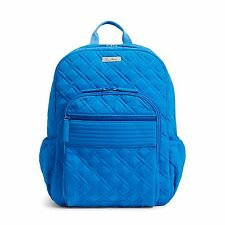 NWT VERA BRADLEY Coastal Blue Campus Backpack Microfiber Book bag $138 Free ship