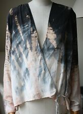 RAQUEL ALLEGRA TIE-DYED WRAP FRONT CARDIGAN 0 UK 6/8