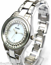 Ladies Henley Floating Stones Watch, Sparkling Crystal Diamante, Silver Tone NEW