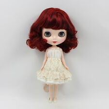 "12"" Neo Nude Wine Red Short Hair Blythe doll From Factory JSW51001"