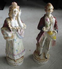 "Vintage 1930s Japan Porcelain Colonial Man and Woman Figurines 9 1/4"" Tall"