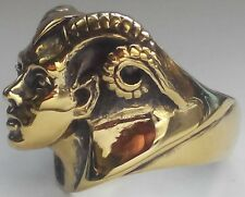 Bronze Lady Aries Ram Biker Ring Custom Sized MC Zodiac Goat Occult R-151b